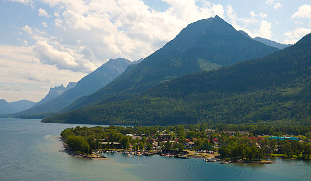 Village Centre at Waterton National Park stock photo