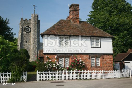 istock Village cottage and church 92024165