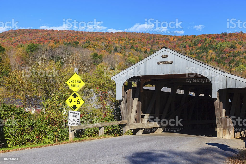 Village Covered Bridge, Waitsfield, Vermont stock photo