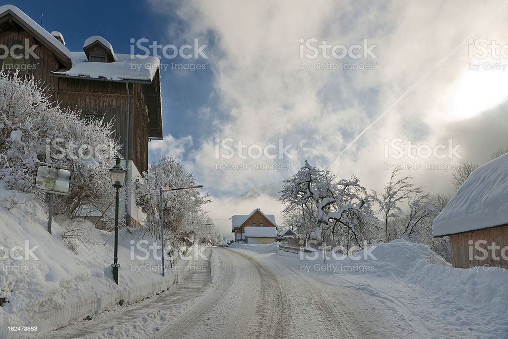 Village covered with Snow - Day after heavy snowstorm (XXXL) royalty-free stock photo