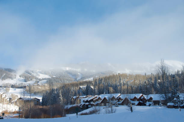 Village Covered With Snow in the morning. stock photo