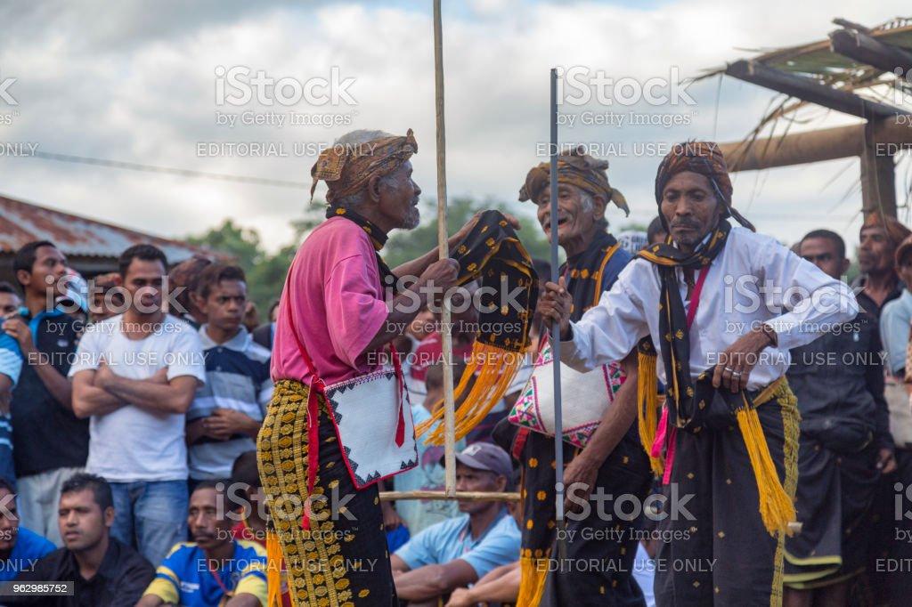 Village Elders Dancing Near Bajawa stock photo