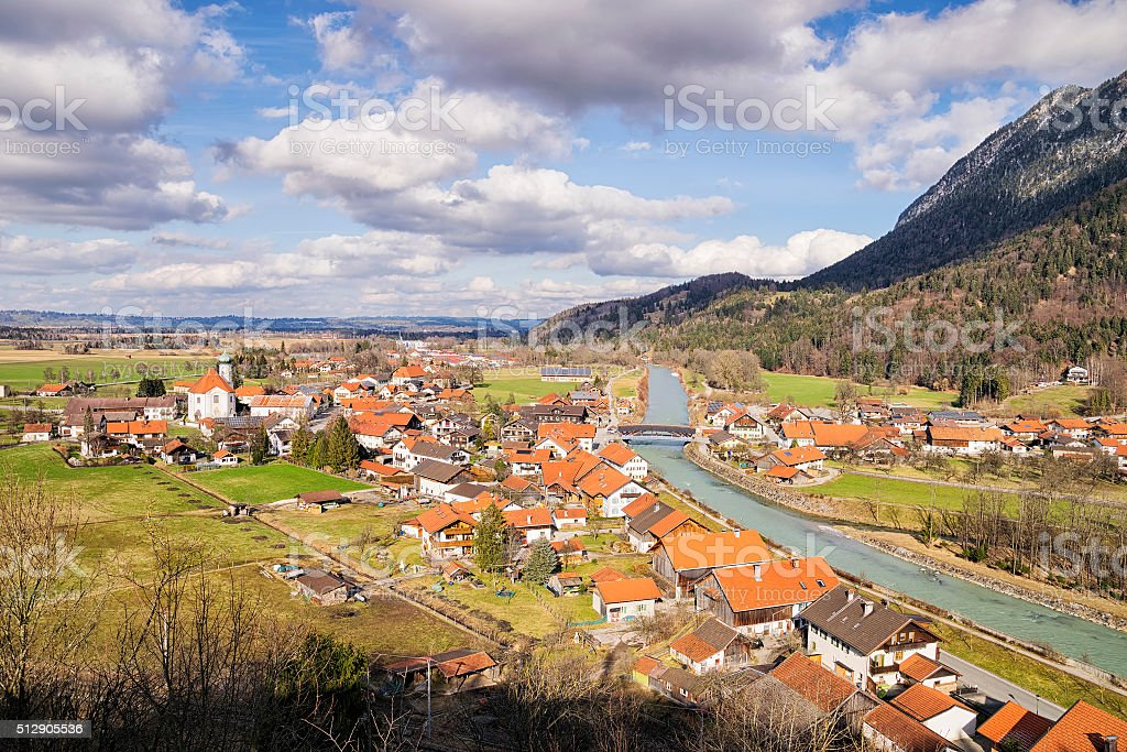 Village Eschenlohe in Bavaria, Germany stock photo