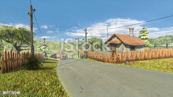 istock Village farm landscape road cartoon,low poly 3d rendering 867776046