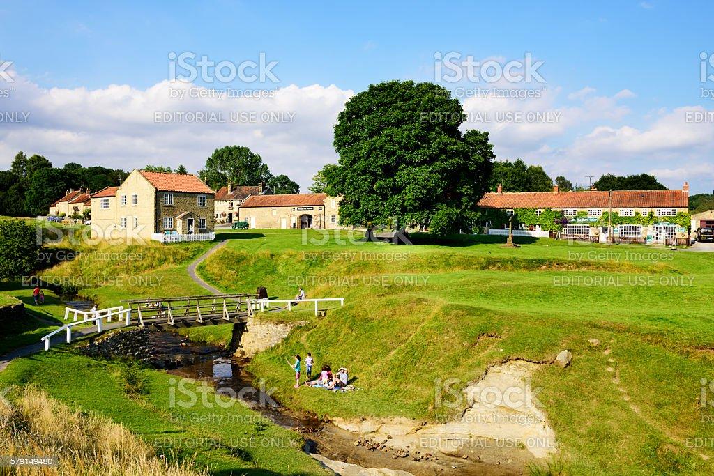Village Green and stream, Hutton-le-Hole, England stock photo