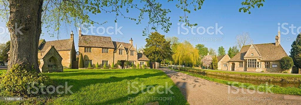 Village green summer scene royalty-free stock photo