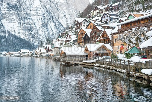 The famous tourist attraction Village Hallstatt covered in snow on this wonderful winter day! Arial Shot. Converted from RAW.