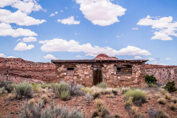 village house in the reservation native american ethnity. arizona, united states - native american reservation stock photos and pictures