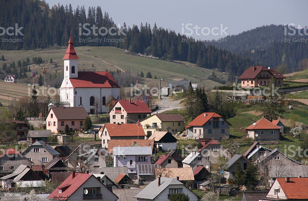 Village - houses and church royalty-free stock photo