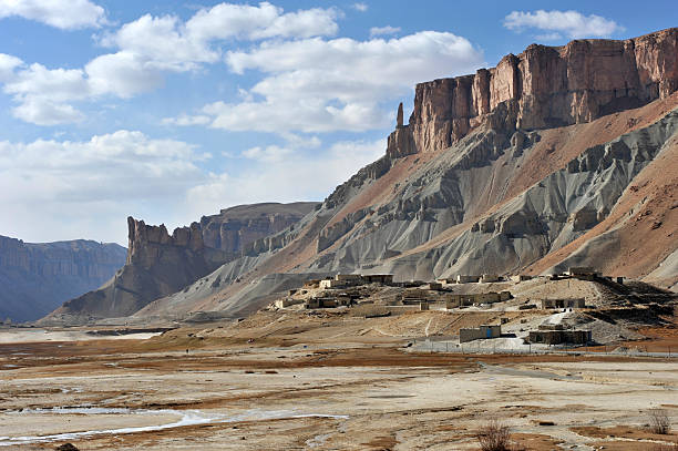 A village in a desert valley in Afghanistan stock photo