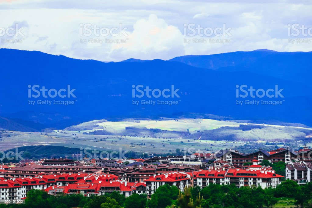 Village in a mountain landscape. Europe, Bulgaria, old town panoramic view, red roofs houses. royalty-free stock photo