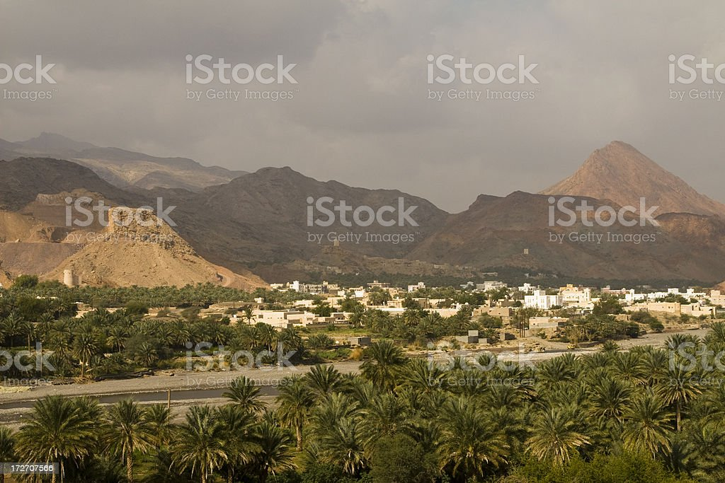 Village in a wadi royalty-free stock photo