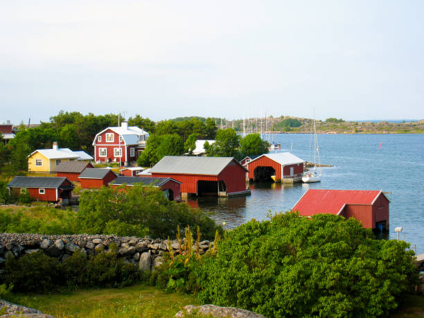 A village in archipelago stock photo