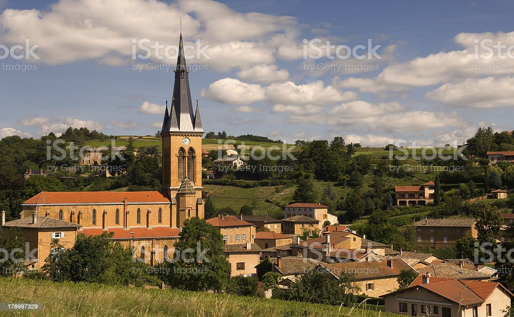 Village in Beaujolais, France stock photo