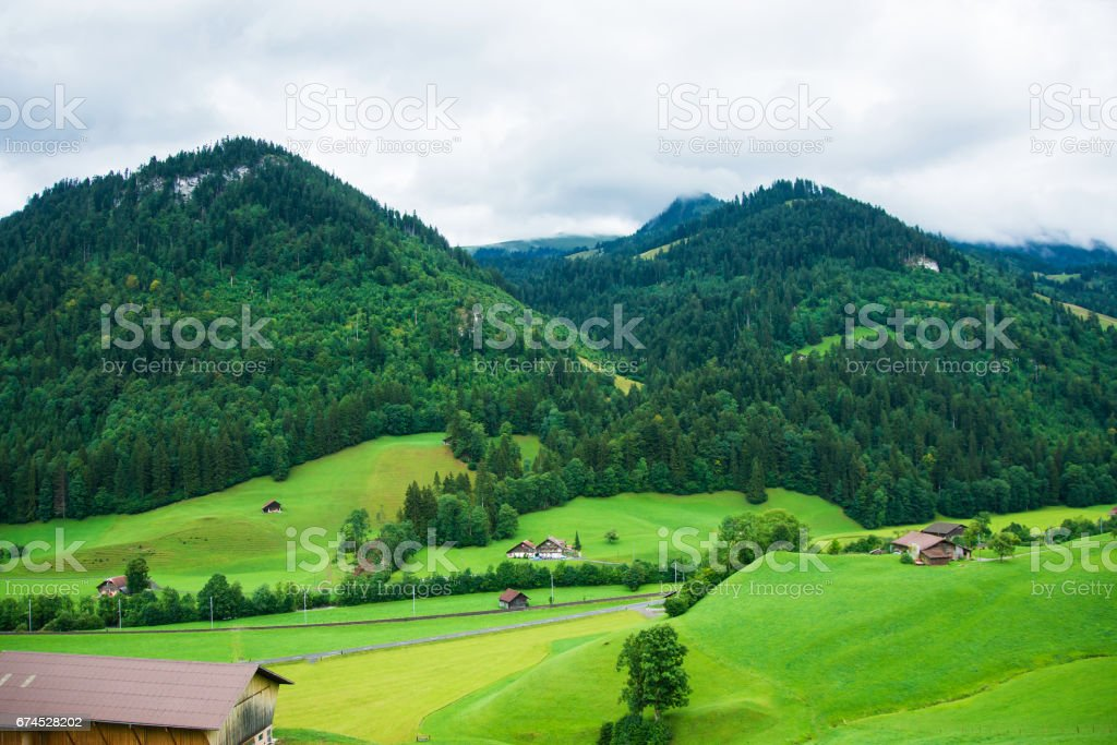 Village in Boltigen at Jaun Pass in Fribourg in Swiss stock photo