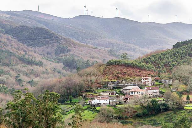 Village in Cerdedo town stock photo
