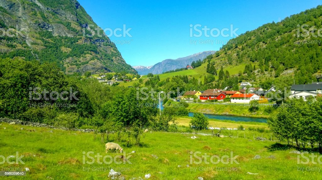Village in Flam - Norway - nature and travel background stock photo