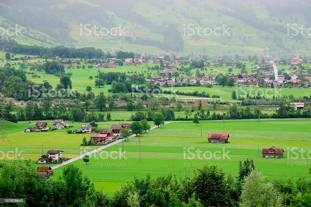 Village in Green Valley royalty-free stock photo