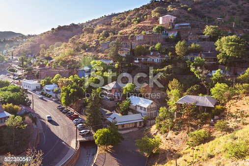A small village in mountains seen from above. Capture taken in Bisbee, Arizona.