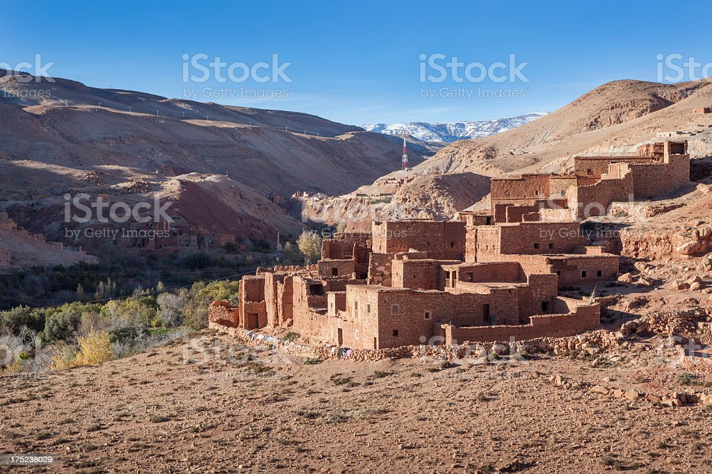 Village in Ounila Valley between Telouet and Ait Benhaddou, Morocco royalty-free stock photo