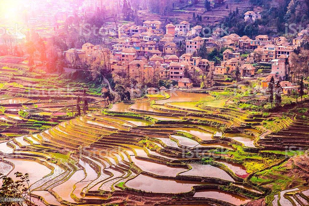 Case Tradizionali Cinesi : Villaggio della cina meridionale con case tradizionali e le terrazze
