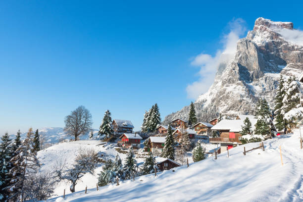 Village in the Alps in the snow. Winter Christmas holidays in Switzerland. Village in the Alps in the snow. Winter Christmas holidays in Switzerland. swiss alps stock pictures, royalty-free photos & images