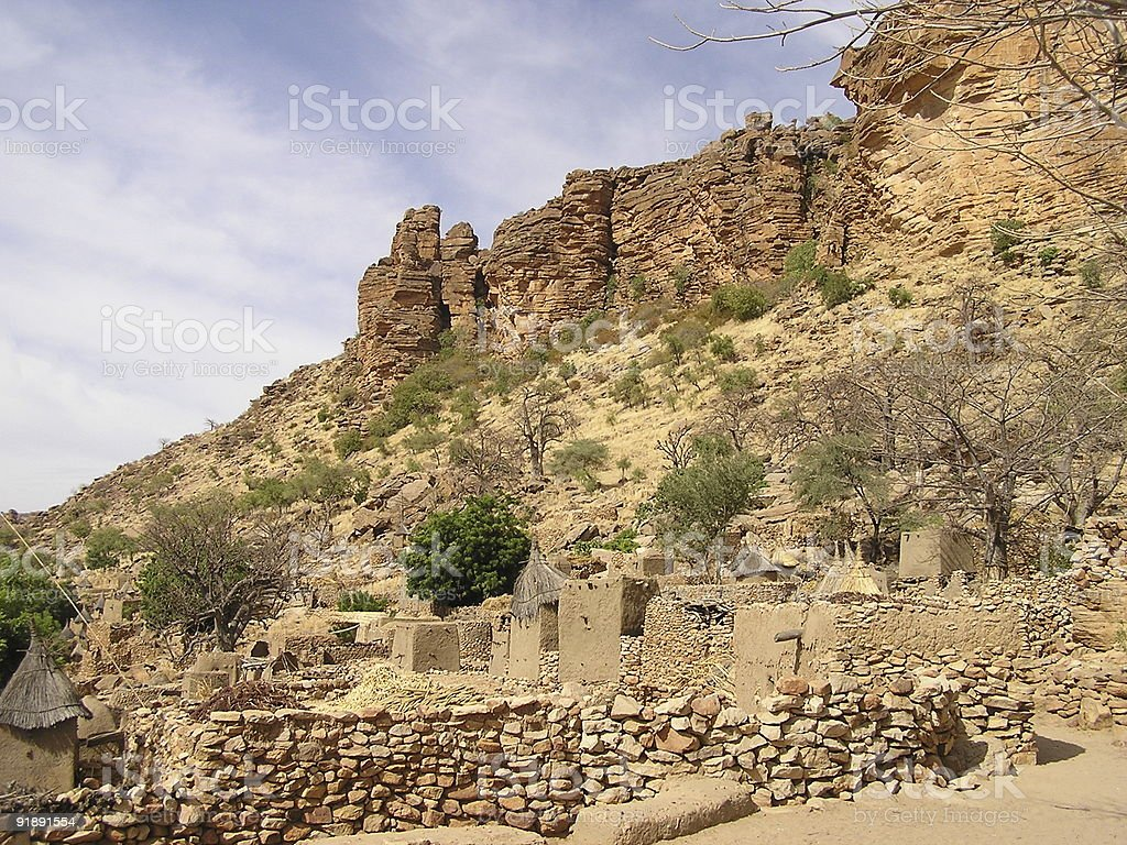 Village in the Dogonland royalty-free stock photo