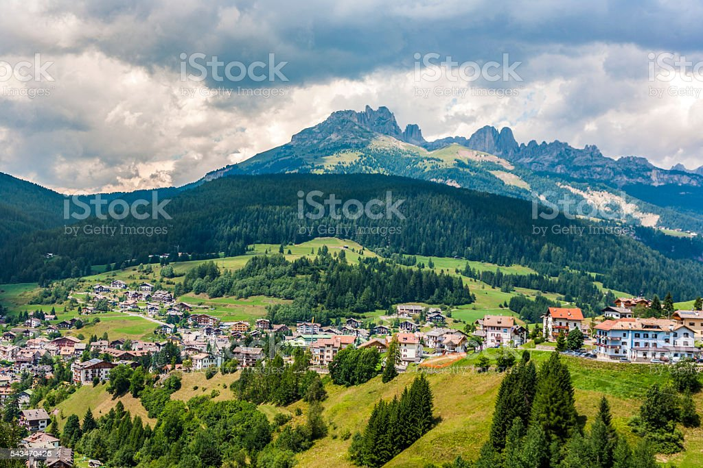 village in the dolomites near Vigo stock photo