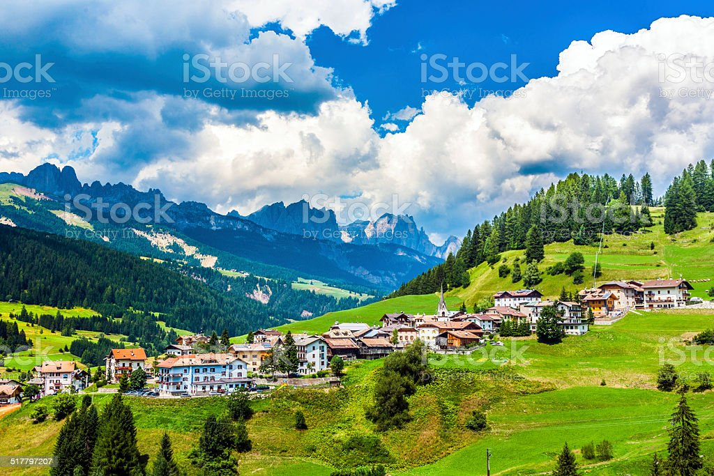 village in the dolomites stock photo