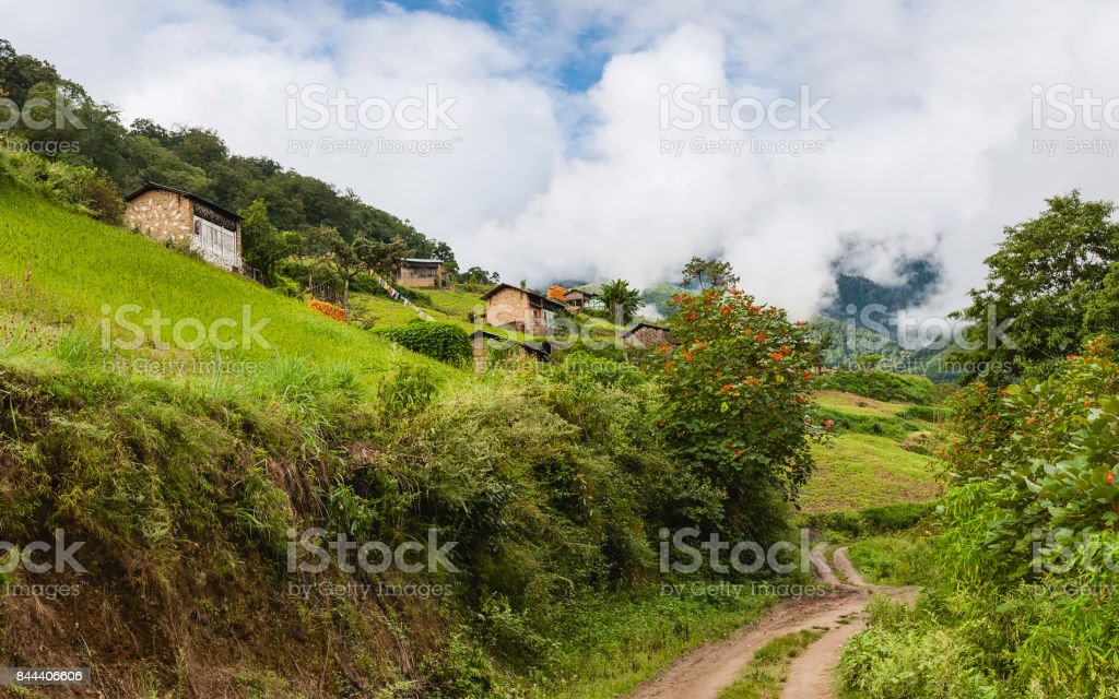 Village in the high slopes of the Himalayas in summer, Arunachal Pradesh, India. stock photo
