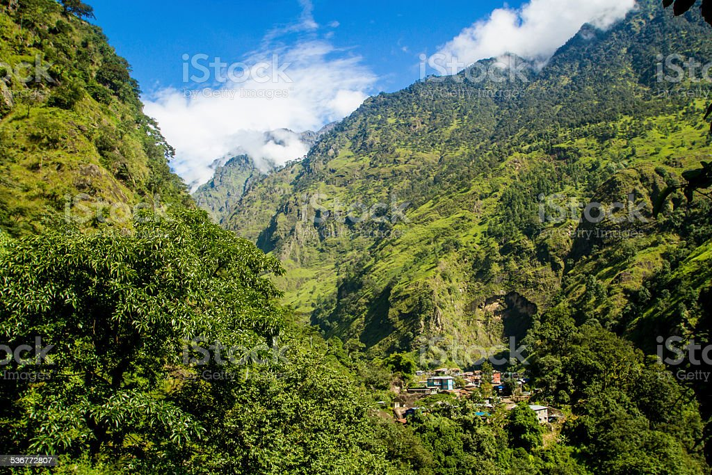 Village in the Himalayan Foothills stock photo