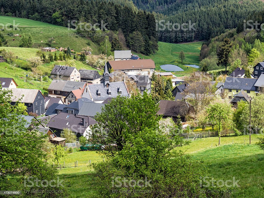 Village in the Thuringian Forest stock photo