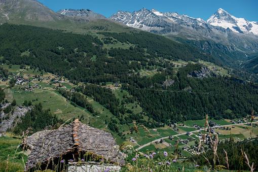 Village in Val d'Hérens in Valais, Switzerland