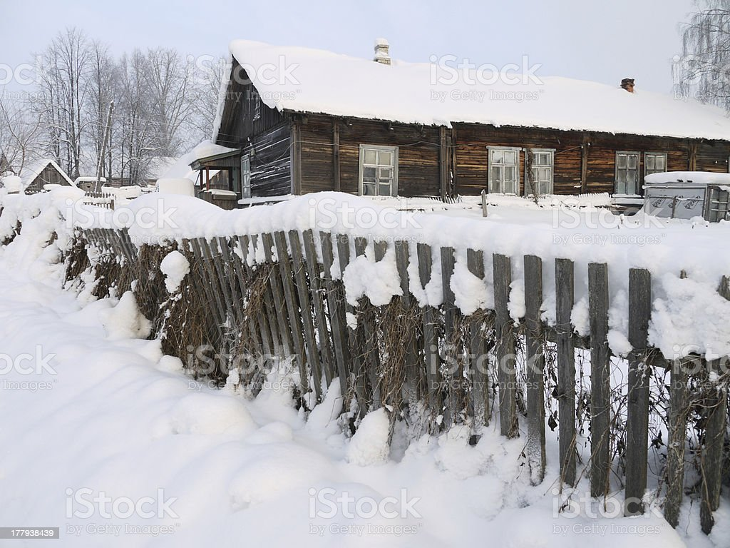 village in winter royalty-free stock photo