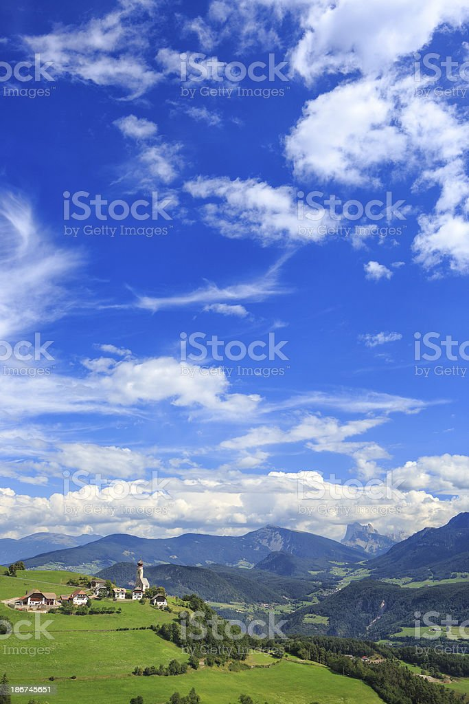 Village Mittelberg in South-Tirol with Dolomites stock photo