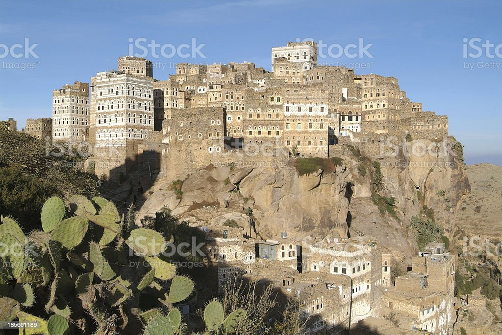 Village of Al Hajjarah on mount Haraz, Yemen stock photo