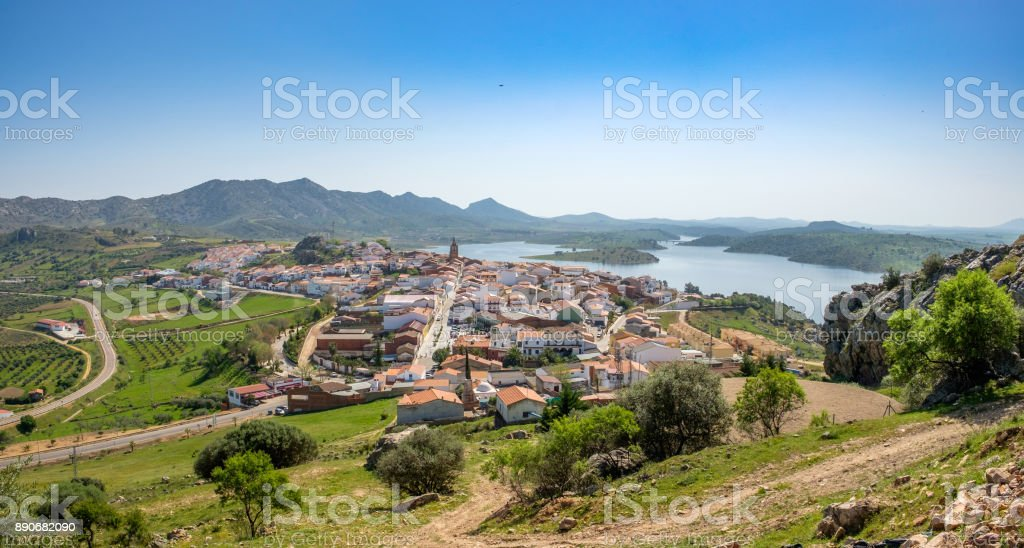 Village of Alange with swamp at background stock photo