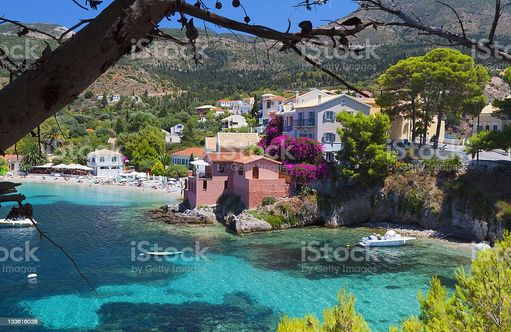 Village of Assos at Kefalonia island, Greece stock photo