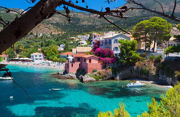 Village of Assos at Kefalonia island, Greece stock photo