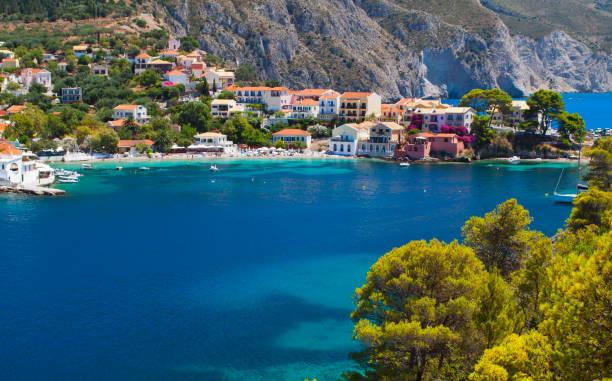 Village of Assos at Kefalonia island in Greece stock photo