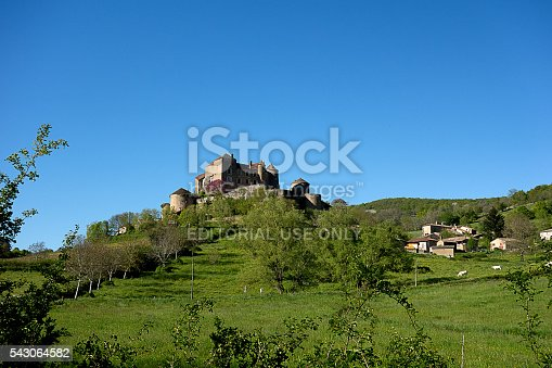 Berzé le Chatel, France - May 5, 2016: The village of Berzé le Chatel is a medieval village between Mâcon and Cluny topped with an impressive castle.