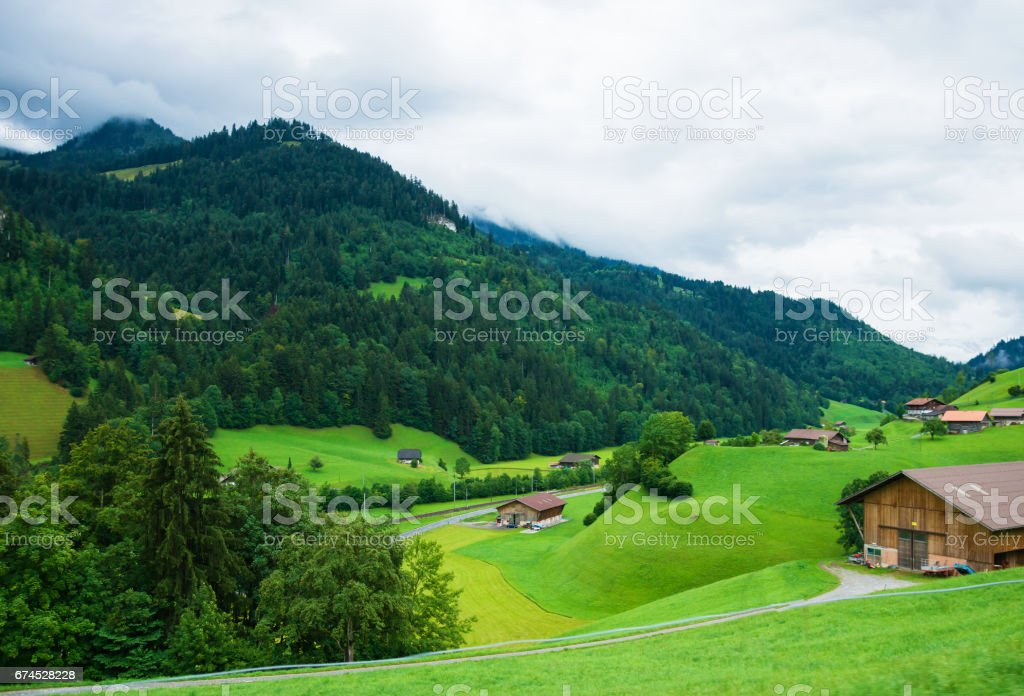 Village of Boltigen at Jaun Pass in Fribourg of Swiss stock photo