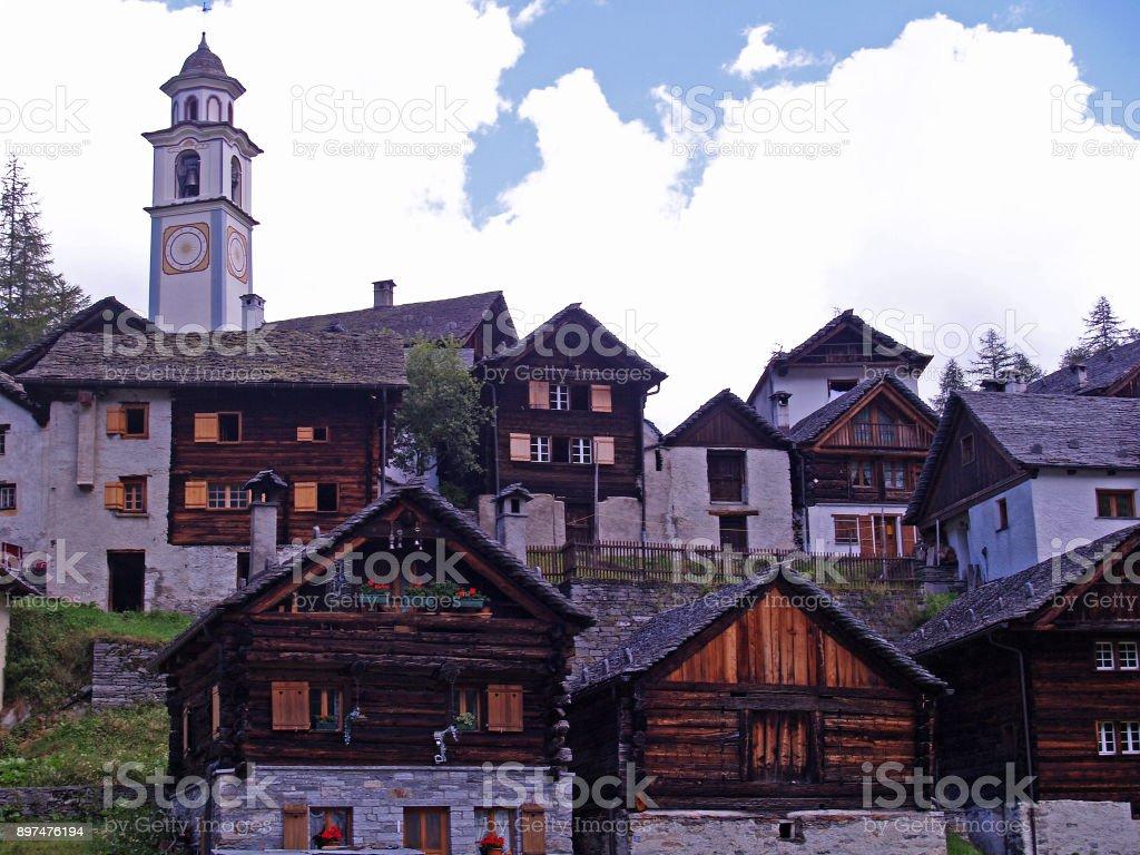 village of Bosco Gurin stock photo