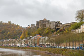 Bouillon Belgium october,29 2017 view on Bouillon village with its Castle on the mountain.