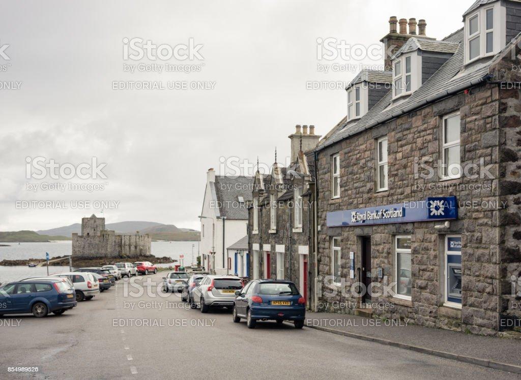 Village of Castlebay on the Scottish Isle of Barra stock photo
