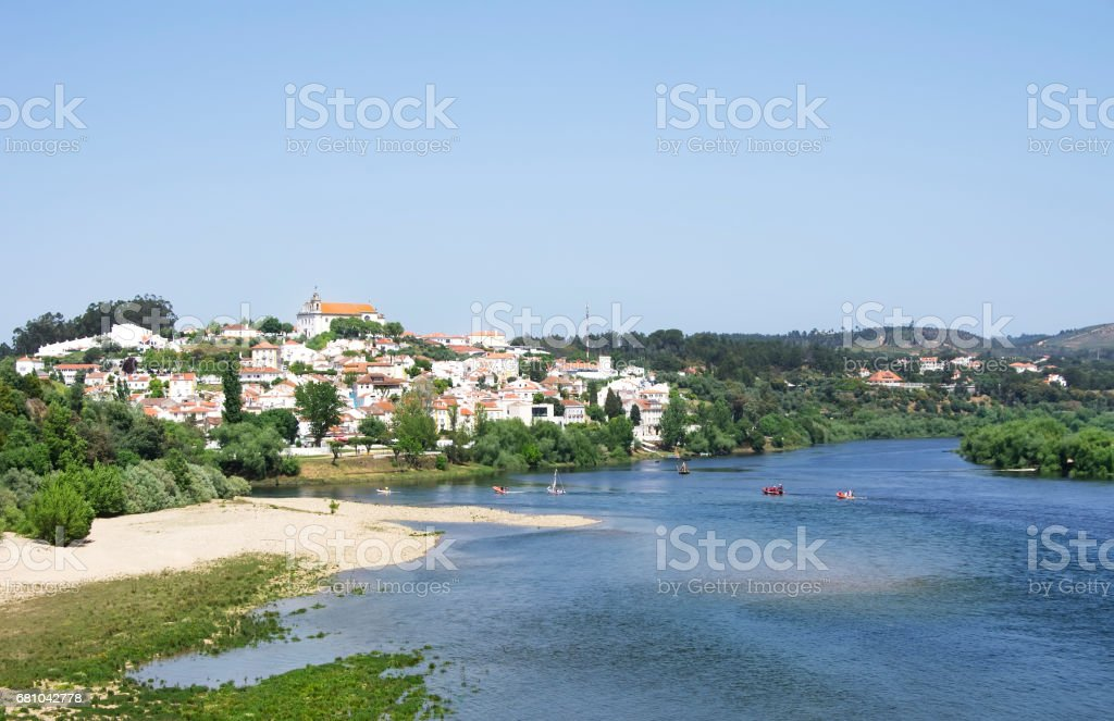 village of Constancia and blue river stock photo