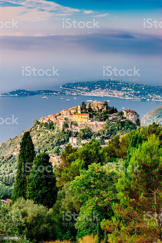Village of Eze on the French Riviera. stock photo
