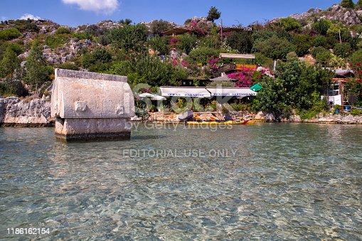 istock Village of Kalekoy and Sinema in Turkish island of Kekova. 1186162154