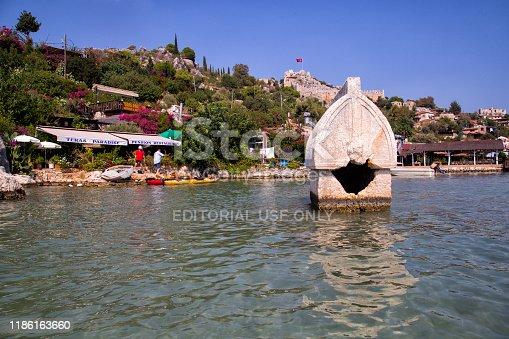 istock Village of Kalekoy and Sinema in Turkish island of Kekova. 1186163660