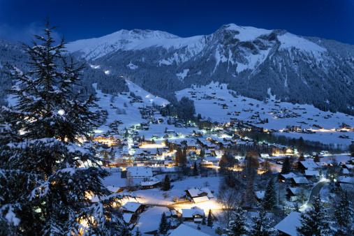 Village of Lenk, Moonlight, Fresh Snow, Time Exposure
